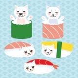Kawaii rolig sushiuppsättning och vit gullig katt med rosa kinder och ögon, emoji Behandla som ett barn blå bakgrund med den japa vektor illustrationer