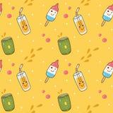Kawaii sömlös bakgrund med glass och fruktsaft vektor illustrationer