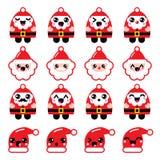 Kawaii Santa Claus cute character icons - head, body, Santa's hat. Vector icons set of happy Santa  on white Stock Photography
