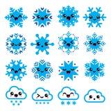 Kawaii-Schneeflocken, Wolken mit Schnee - Weihnachten, Winterikonen eingestellt Stockfoto