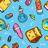 Kawaii school seamless pattern with cute education supplies stock illustration