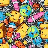 Kawaii school seamless pattern with cute education supplies.  vector illustration