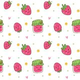 Kawaii seamless background with strawberry jam stock photos