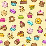 Kawaii seamless background of sweet and dessert doodle, cute cake, sweet donat, cartoon cookies and macaron. Seamless background of sweet and dessert doodle stock illustration