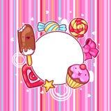 Kawaii serca rama z cukierkami i cukierkami Szalony materiał w kreskówka stylu royalty ilustracja