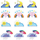 Kawaii set of weather icons Stock Photos