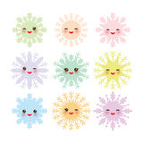 Kawaii snowflake set blue mint orange pink lilac Royalty Free Stock Images