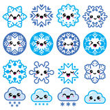 Kawaii snowflakes, clouds with snow - Christmas, winter icons set vector illustration