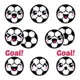 Kawaii Football Soccer Ball Cute Character Icons Set Stock