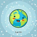 Kawaii space card. Doodle with pretty facial expression. Illustration of cartoon earth in starry sky.  royalty free illustration