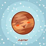 Kawaii space card. Doodle with pretty facial expression. Illustration of cartoon jupiter in starry sky.  Stock Photos
