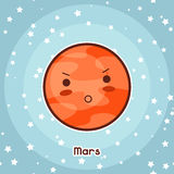 Kawaii space card. Doodle with pretty facial expression. Illustration of cartoon mars in starry sky.  royalty free illustration