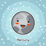 Kawaii space card. Doodle with pretty facial expression. Illustration of cartoon mercury in starry sky.  Royalty Free Stock Image