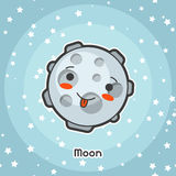Kawaii space card. Doodle with pretty facial expression. Illustration of cartoon moon in starry sky royalty free illustration
