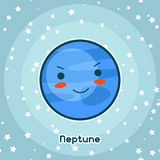 Kawaii space card. Doodle with pretty facial expression. Illustration of cartoon neptune in starry sky.  Royalty Free Stock Images