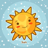 Kawaii space card. Doodle with pretty facial expression. Illustration of cartoon sun in starry sky Royalty Free Stock Photo