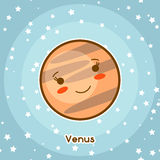 Kawaii space card. Doodle with pretty facial expression. Illustration of cartoon venus in starry sky.  Royalty Free Stock Photos