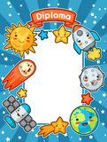Kawaii space diploma. Doodles with pretty facial expression. Illustration of cartoon sun, earth, moon, rocket. And celestial bodies royalty free illustration