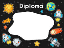 Kawaii space diploma. Doodles with pretty facial expression. Illustration of cartoon sun, earth, moon, rocket  Royalty Free Stock Photography