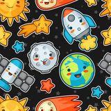Kawaii space seamless pattern. Doodles with pretty facial expression. Illustration of cartoon sun, earth, moon, rocket Stock Photography