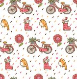 Kawaii spring background with bird and bicycle royalty free illustration