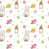 Kawaii spring seamless pattern with bunny, egg hunting, bird and carrot vector illustration
