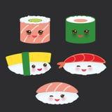 Kawaii ställde den roliga sushi in med rosa kinder och stora ögon, emoji på svart bakgrund vektor royaltyfri illustrationer