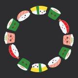 Kawaii ställde den roliga sushi in med rosa kinder och stora ögon, kransen för ramen för designen för emojikortbanret den runda f vektor illustrationer