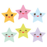 Kawaii stars set, face with eyes, boys and girls pink green blue purple yellow pastel colors on white background. Vector Royalty Free Stock Photography