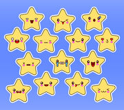Kawaii stars set, face with eyes, yellow color on blue background. Stock Images