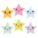 Kawaii-Sterne stellten, Gesicht mit Augen-, Jungen- und Mädchenrosa grün-blauen purpurroten gelben Pastellfarben auf weißem Hinte Lizenzfreie Stockfotografie