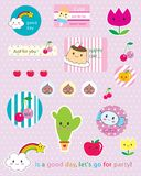 Kawaii sticker Royalty Free Stock Photos