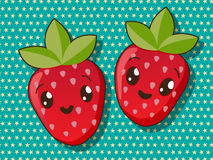 Kawaii strawberry icons Stock Photography