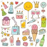 Kawaii style birthday doodle isolated on white background vector illustration
