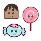 Kawaii style sweets Royalty Free Stock Photos