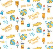 Kawaii summer themed doodle seamless pattern. Can be use as background, fabric printing etc vector illustration
