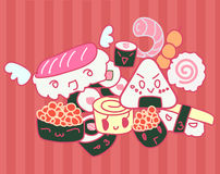 Kawaii sushi doodle Royalty Free Stock Photos