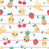 Kawaii szcz??liwy owocowy bezszwowy deseniowy wektor ilustracji