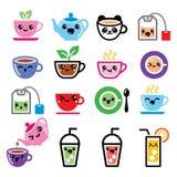 Kawaii tea, tea pot, ice tea cute characters Stock Photography