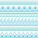Kawaii tea, tea pot, ice tea cute characters. Vector green and blue Thai design - folk art Stock Image