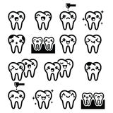 Kawaii Tooth, cute teeth characters - black  icons set Stock Images
