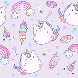 Kawaii unicorn sticker collection in pastel color. Cute doodle clip art for scrapbook. Unicorn cartoon sticker. For kid stock illustration