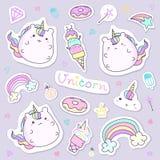 Kawaii unicorn sticker collection in pastel color. Cute doodle clip art for scrapbook. Unicorn cartoon sticker for kid stock illustration