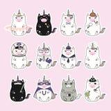Kawaii unicorns stickers set stock illustration