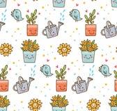 Kawaii vår med blomma- och fågelbakgrund vektor illustrationer