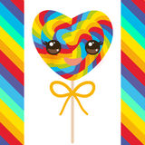 Kawaii Valentine`s Day Heart shaped candy lollipops with bow, colorful spiral candy cane with bright rainbow stripes. on stick wit Stock Photos