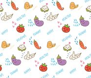 Kawaii Vegetable doodle seamless pattern royalty free illustration
