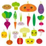 Kawaii vegetables bell peppers, pumpkin beets carrots, eggplant, red hot peppers, cauliflower, broccoli, potatoes, mushrooms, cucu Stock Photos