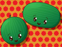 Kawaii  watermelon icons Royalty Free Stock Photos