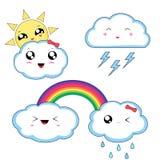 Kawaii-Wetteraufkleber, nette Charaktere lokalisiert auf weißem Hintergrund stockfotografie